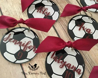 Soccer Bag Tag, Personalized Soccer Bag Tag, Personalized Soccer Key Chain, gifts for her, gifts for him, Soccer Gifts, Team gifts