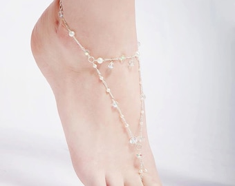 Swarovski crystal and pearl barefoot sandals.