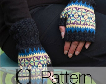 Fair Isle Mitts, Fingerless mitts, Lambswool Mitts, Knitting Pattern, Knitted Mitts Pattern, Instant Download pdf