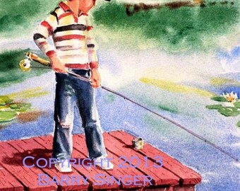 First time Fishing 8X10 watercolor Art print by Barry Singer Young Boy fishing on a red dock