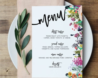 Floral Bridal Shower Menu Wedding Party Menu Printable Menu Calligraphy Menu Spring Floral Event Menu Floral Menu Card Wedding Reception