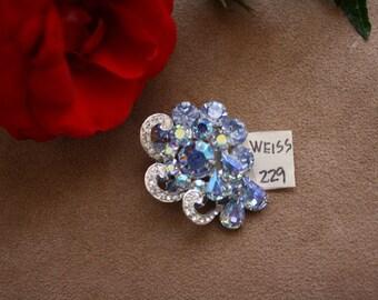 Weiss Rhinestone Brooch Pin - Floral Motif - Silver Tone Setting - Designer Vintage
