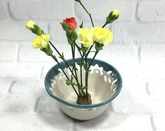 Ceramic Flower bowl, ikebana container, candy bowl dish, ikebana dish, ikebana flower dish, pottery bowl,  pin frog bowl, trinket dish, vase
