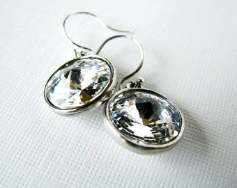 Crystal Luxury - Swarovski Rivoli Rhinestone Drop Earrings in Crystal Clear with Silver Plated Settings