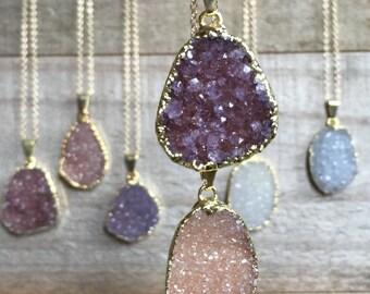 Freeform Druzy Necklace, Druzy Pendant, Druzy Jewelry, YOU CHOOSE, Drusy Necklace, 14K Gold Fill, Druzy Quartz, Geode Necklace