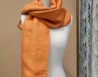 Linen scarf, vegan orange stole, orange sash, natural fabric wrap, gold stole, gift for new job, lazip, light