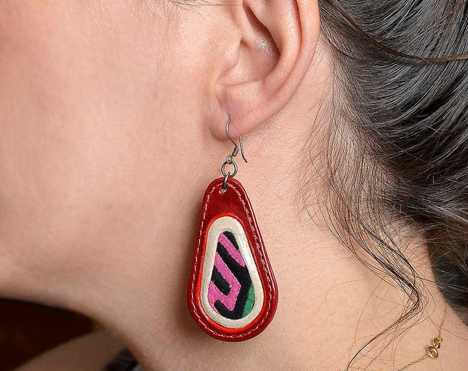 Featured listing image: Genuine leather earring, large leather drop, oval jewelry, red earring, tear drop jewelry, long earring, unique jewel, fat earring