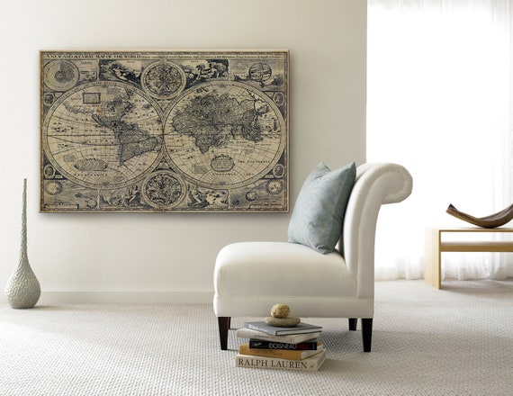Huge Historic 1626 Old World Map Antique Restoration decor Style Fine Art poster Print Wall Decor