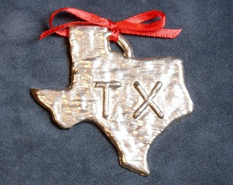 Pewter Texas Ornament