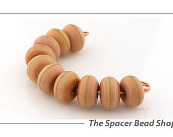 CALICO ORANGE Lamp Work Beads Spacers Glass Handmade - The Spacer Bead Shop