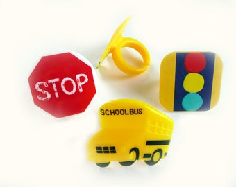 24 Stop Look and Listen School Cupcake Rings Cake Topper Party Favors