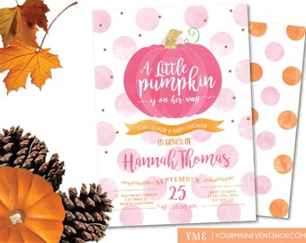 Little Pumpkin Fall Baby Shower Invitation, Girl Fall Baby Shower Invite, Autumn Shower, A Little Pumpkin Is On The Way • BS-F-01