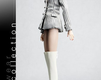 B413 The Vogue White Over Knee Fashion Long Boots for Barbie Fashion Royalty FR2 Poppy Parker Silkstone