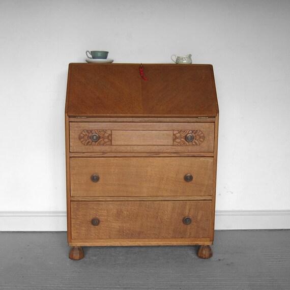 Art Deco Office Bureau Vintage Writing Desk Storage Cabinet 1930s 40s Book Shelf