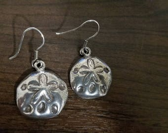 Vintage Sterling Silver Sand Dollar Earrings