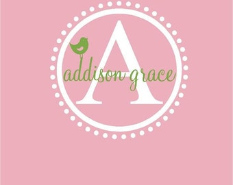 Monogram Name PERSONALIZED bird initial 22x22 Vinyl Wall Lettering Words Quotes Decals Art Custom