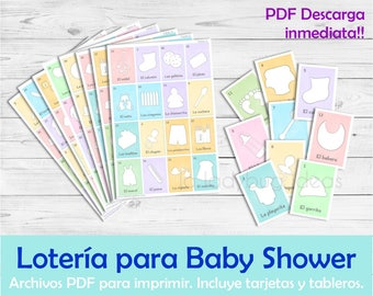 Lotería para Baby Shower en Español. Juego para baby shower. Archivo PDF para imprimir. Printable Baby shower bingo Spanish Instant download