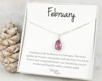 February Birthstone Silver Teardrop Necklace, Amethyst Necklace, Personalized Silver Necklace, February Birthday Gift, Bridesmaid Jewelry