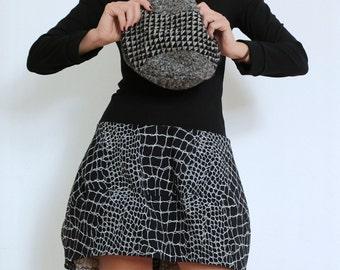 Black Dress - Sweater Dress - Dress with Long Sleeves - Bubble Dress - Short Dress - Fall Winter Trends - Womens Clothing Handmade - Black