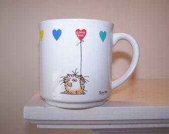 Sandra Boynton Mug, Love You Mug, Balloon Hearts, Rainbow Hearts, Cat Coffee Mug, Cat Tea Cup, Boynton Illustration, Red Yellow