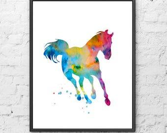 Horse print colorful horse art print watercolor painting horse animal art - 1