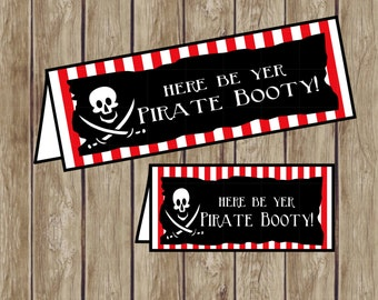 Pirate Bag Toppers for Pirate Party. Here Be Yer Pirate Booty. 4 Sizes for any Pirate Party Favor Option. Instant Digital Download.