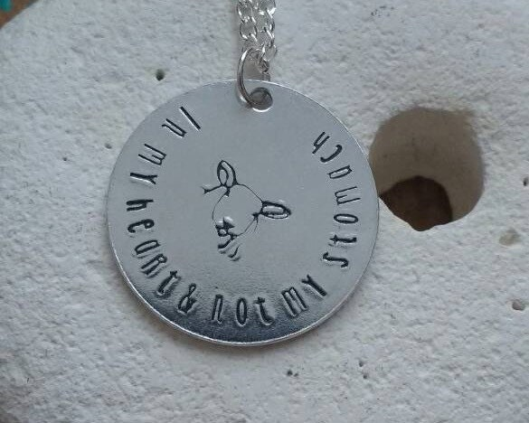 In my heart and not my stomach necklace - sheep, pig, cow, chicken - vegan jewellery - vegan jewelry - handstamped necklace