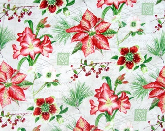Per Yard, Four Seasons Holiday Floral Beige Fabric From David Textiles