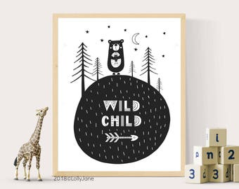 Wild Child decor printable art - INSTANT DOWNLOAD digital printable art