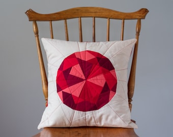 Red Pillow Cover - Garnet, Ruby Jewel, Quilted Gem