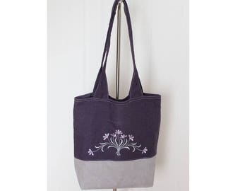 Linen Tote Bag, Purple Grey Bag, Embroidered Tote, Floral Shoulder Bag, Simple Linen Tote, Shopping Bag, Everyday Totes, Dark Purple Tote