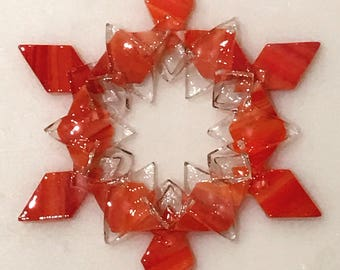 Kiln-fired Fused Glass Snowflake Ornament / Suncatcher: Red/Orange/White Swirl, Clear