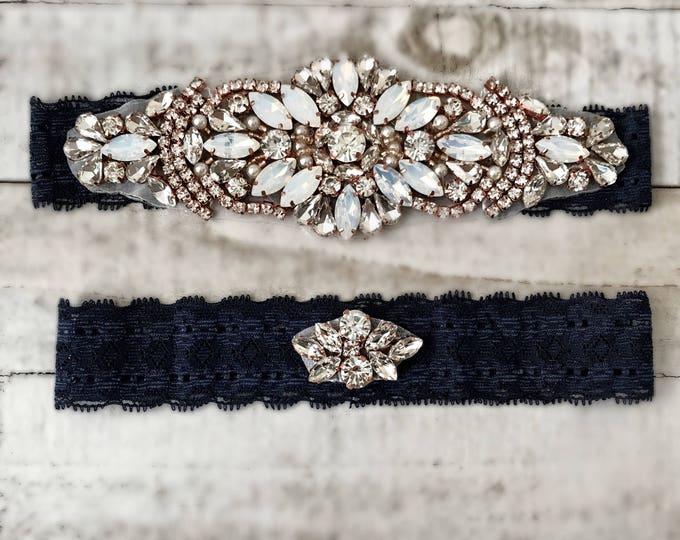 Something Blue Bridal Garter, navy garter, NO SLIP Lace Wedding Garter Set, bridal garter set, vintage rhinestones D18RG-DBO4RG