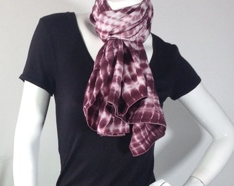 Purple and white tie dye scarf