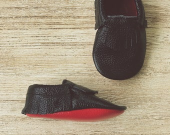 Red Bottom Moccasins Baby Loub Black Baby Moccasins Black Leather Toddler Moccasins Red Sole Baby Leather Toddler Moccasins Black Moccs