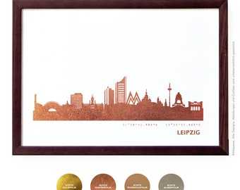 LEIPZIG art print copper, Kassel trend city poster, copper LEIPZIG skyline, perfect anniversary gift, art work LEIPZIG, home decor copper