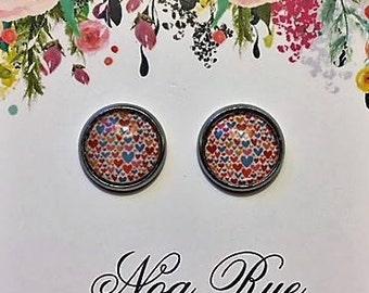 Raining Hearts 10mm Stud Earrings