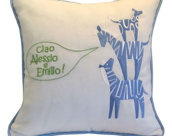 zebra embroidered nursery pillows with animals personalized for baby boys girls greeting in english or any language
