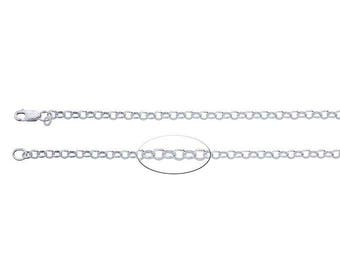 3.3mm ROLO Chain 18'' long in solid sterling silver. Beautiful quality. No lead.