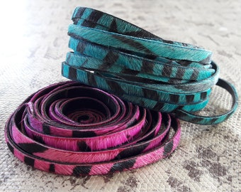 leather 5 mm flat leopard hair turquoise or fuchsia