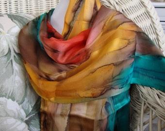 Scarf, Silk, Women, Hand Dyed, Southwest Soiree Silk Scarf, Chestnut Seabreeze Apricot