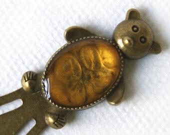 Golden hand-painted Bookmark, golden bear-shaped paperclip, golden handpainted bookmark