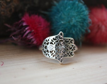 Hand of Miriam sterling silver ring, Hamsa sterling silver ring, Hamsa ring, Hamsa hand sterling silver ring, Hand of Fatima ring, Hamsa