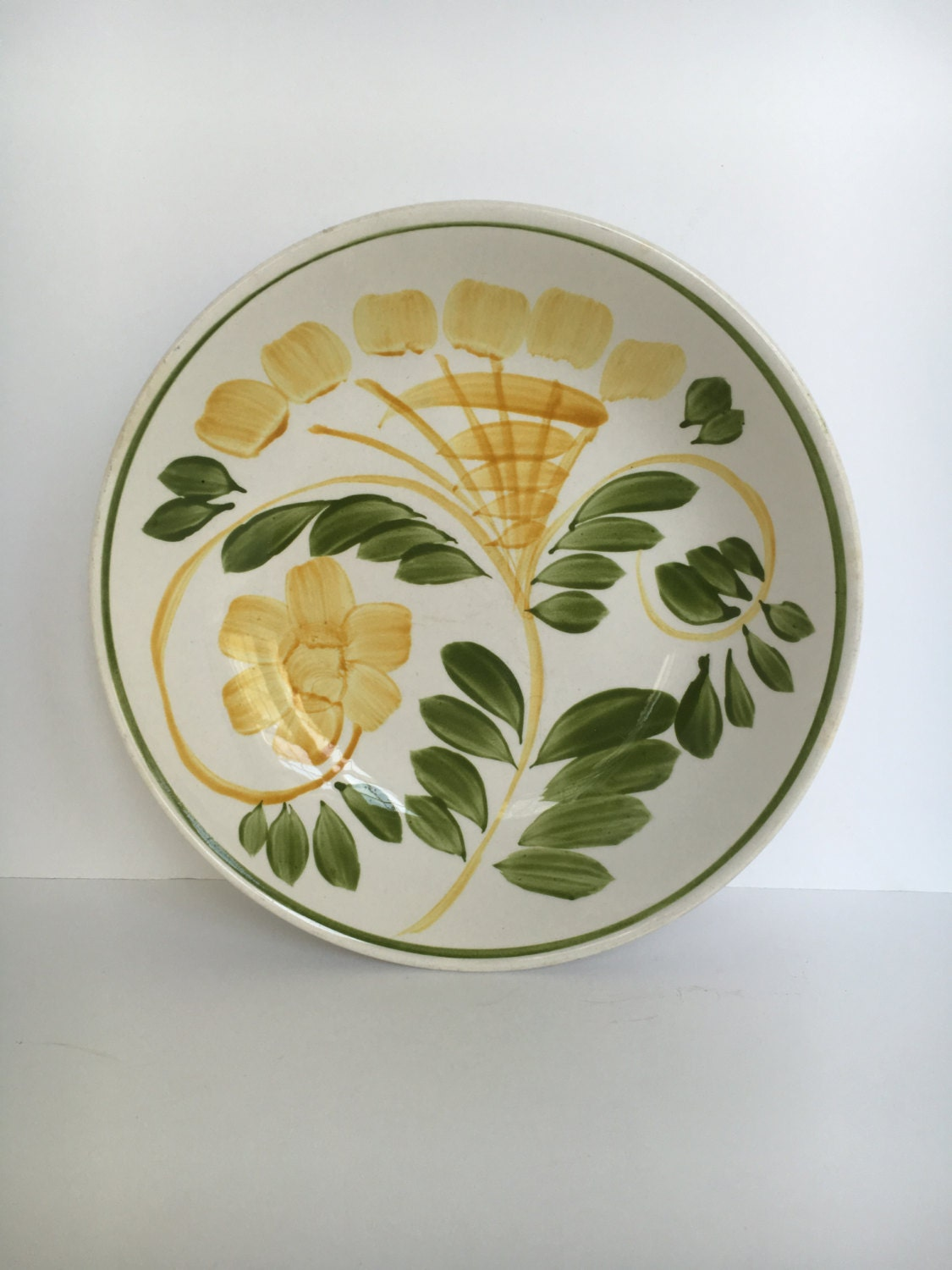 Corona Ironstone Ware Bowl. Vintage Lovely handpainted Yellow flowers and foilage. Made in Japan & Corona Ironstone Ware Bowl. Vintage Lovely handpainted Yellow ...