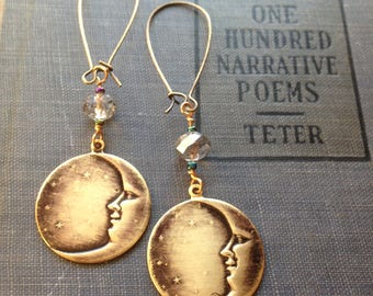 Moon and Crystal Earrings in Antiqued Brass