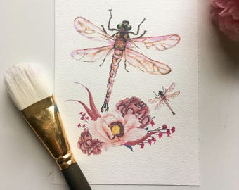 Floral dragonfly watercolour print