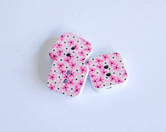 5x Square Wooden Buttons - Pink with tiny flowers - 15mm 2 hole buttons