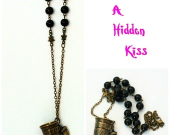 Second Star Right - Peter Pan Thimble and Acorn Necklace Hidden Kisses Peter Pan and Wendy Brass and Black