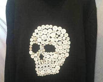 Skull Button Mosaic Hoodie Large