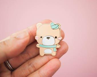 Mint Heart Teddy Bear Pin - Gold Enamel Pin - Cute Mint Teddy Bear Lapel Pin - Enamel Pin